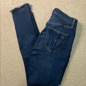 rag & bone high rise ankle skinny jeans W24